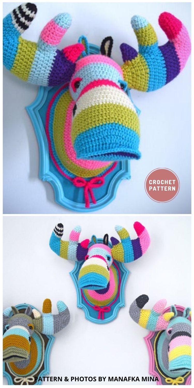 Faux Moose Head - Top 6 Crochet Trophy Head Patterns