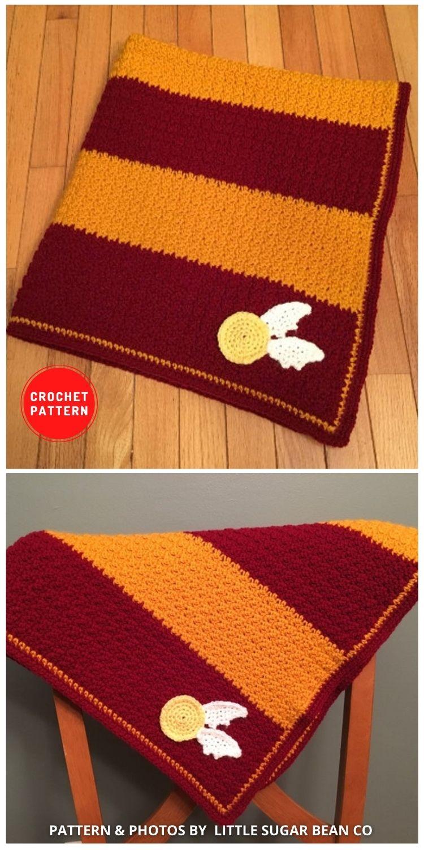 Harry Potter Gryffindor Style Crochet Blanket - 5 Magical Harry Potter Blanket Crochet Ideas