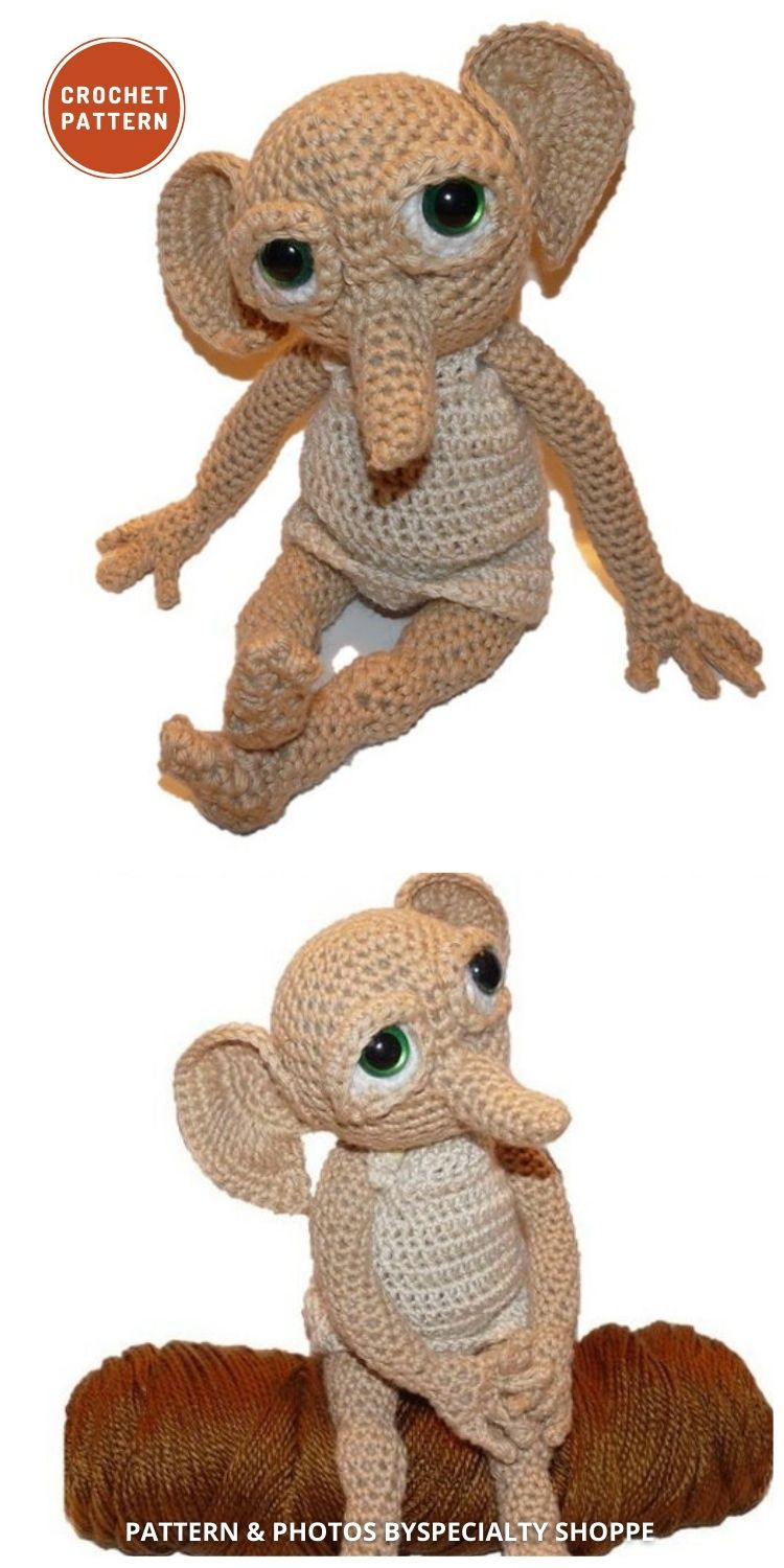 Hobby the House Elf - 9 Best Crochet Amigurumi Harry Potter Toys For Your Kids