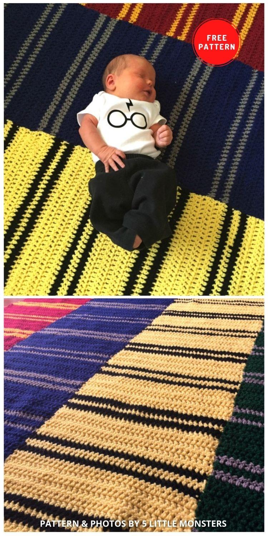 Hogwarts House Scarves Blanket - 5 Magical Harry Potter Blanket Crochet Ideas