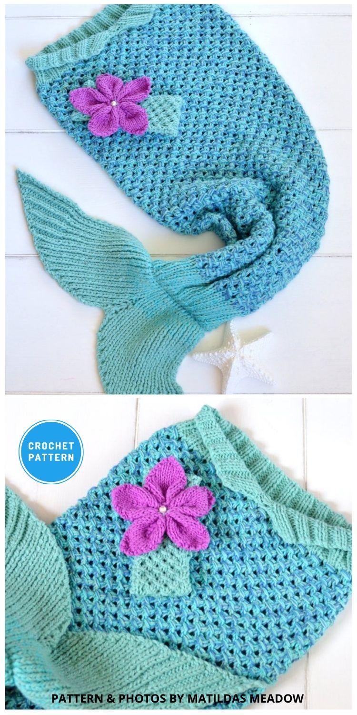 Mermaid Tail Blanket - 12 Crochet Mermaid Tail Blanket Patterns For Kids & Adults