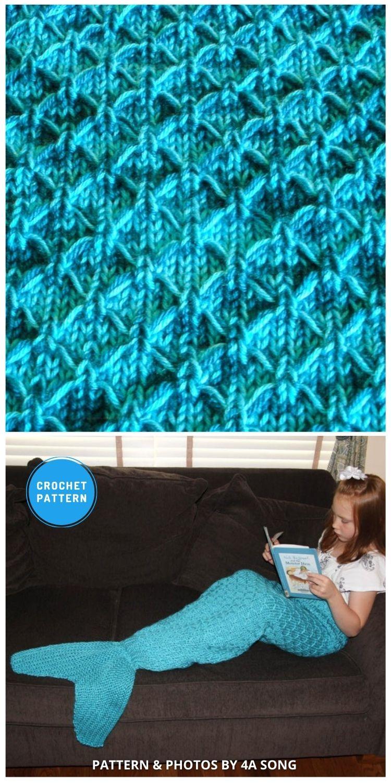 Mermaid Tail Lapghan Blanket - 12 Crochet Mermaid Tail Blanket Patterns For Kids & Adults