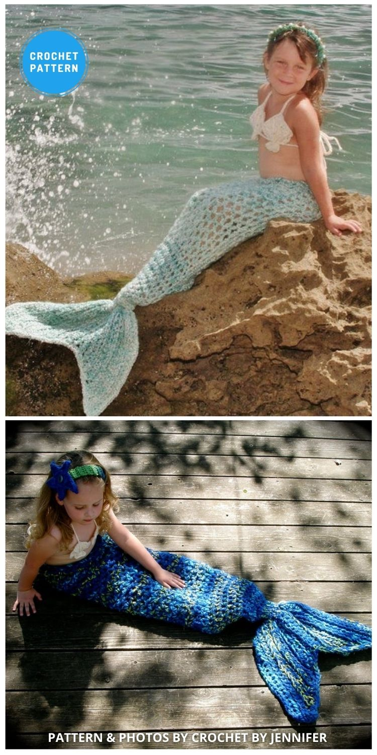 Mermaid Tail Photography Prop - 12 Crochet Mermaid Tail Blanket Patterns For Kids & Adults