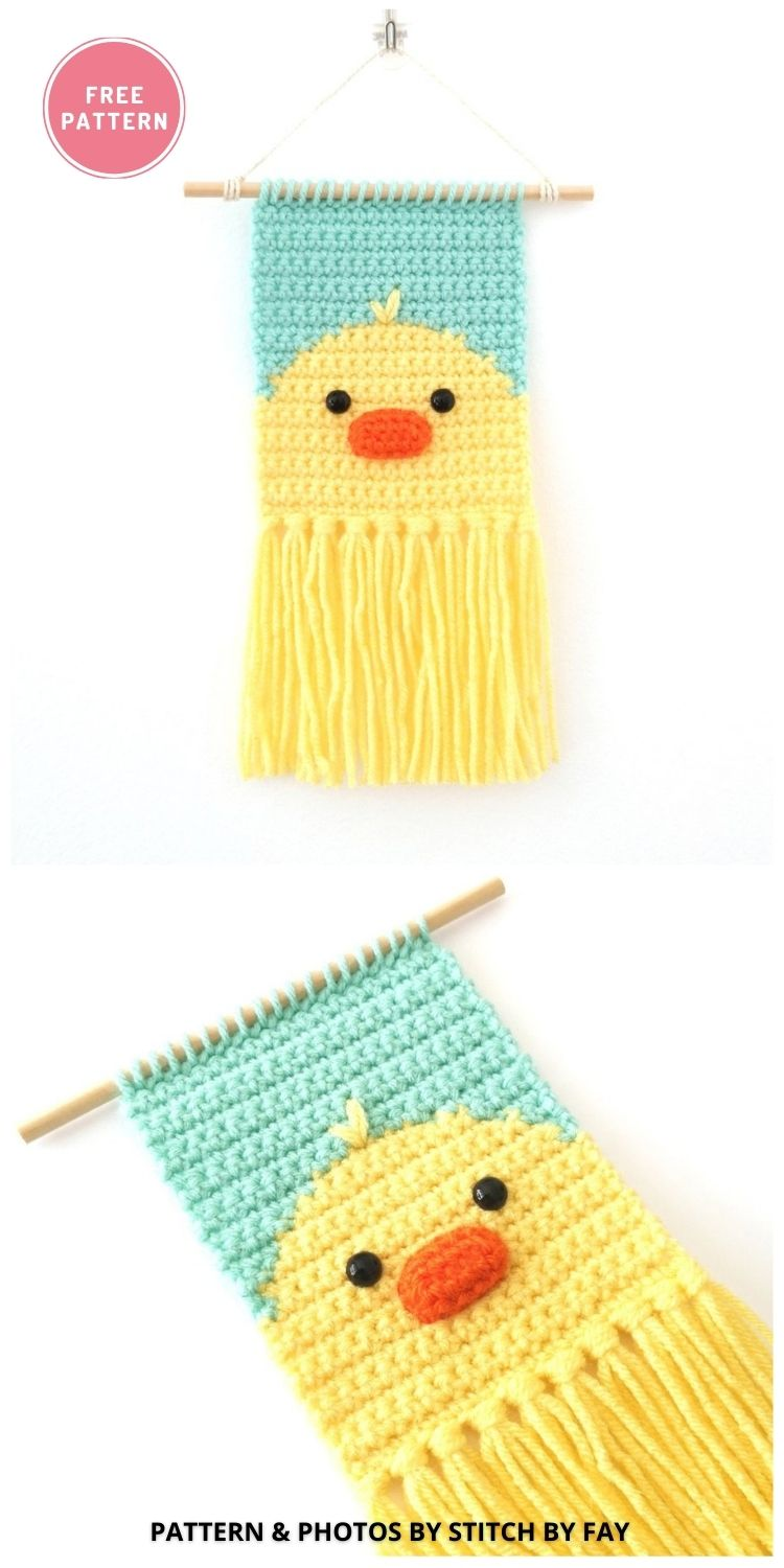 Mini Chick Wall Hanging - 9 Cutest Free Crochet Animal Wall Hangings For The Nursery