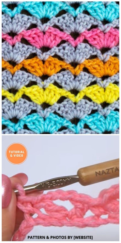 Open Shell Stitch - 9 Beautiful Crochet Wave Stitch Patterns