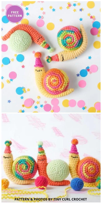 Party Snail Amigurumi - 8 Free Slugs & Snails Crochet Patterns