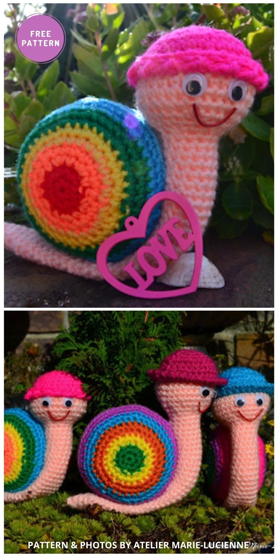 Rainbow Snails - 8 Free Slugs & Snails Crochet Patterns