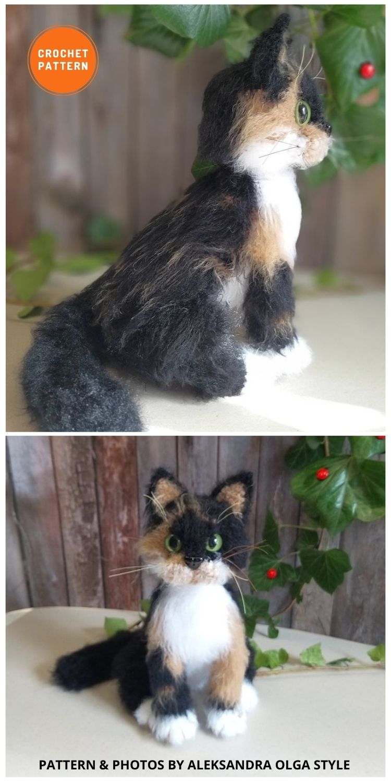 Realistic Crochet Three-Color Calico Cat - 8 Realistic Crochet Animal Patterns