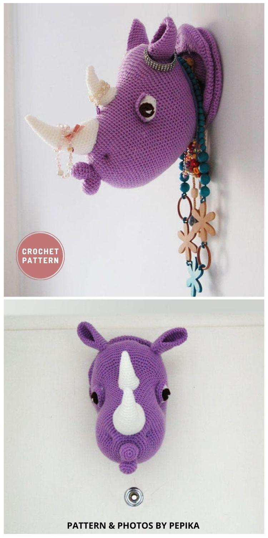 Rhinka the Rhino - Top 6 Crochet Trophy Head Patterns