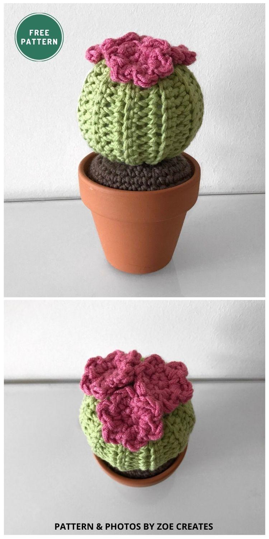 Round Barrel Cactus - 10 Free Amigurumi Cactus Crochet Patterns To Decorate Your Home