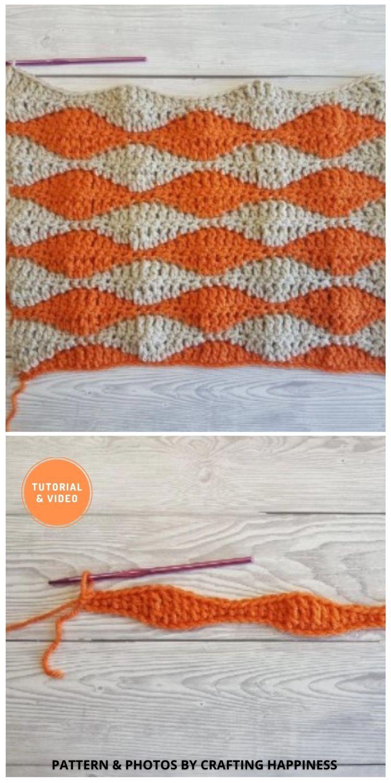 Textured Rolling Waves - 9 Beautiful Crochet Wave Stitch Patterns