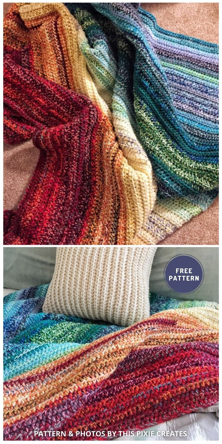 Weighted Rainbow Blanket - 6 Free Crochet Weighted Blanket Patterns For Better Sleep