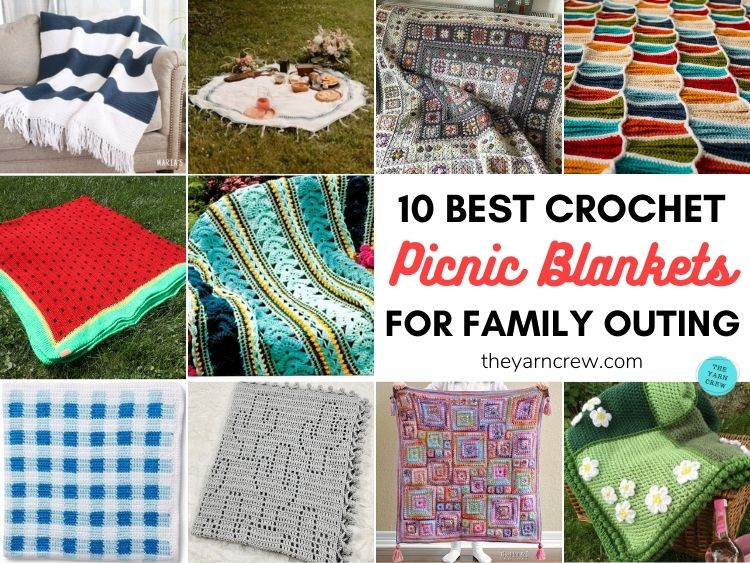 10 Best Crochet Picnic Blanket Patterns For Family Outing FACEBOOK POSTER