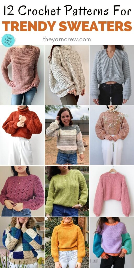12 Crochet Patterns For Trendy Sweaters PIN 2