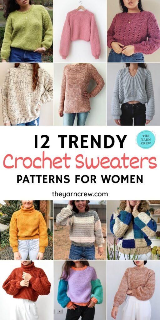 12 Trendy Crochet Sweater Patterns For Women Ideas PIN 1