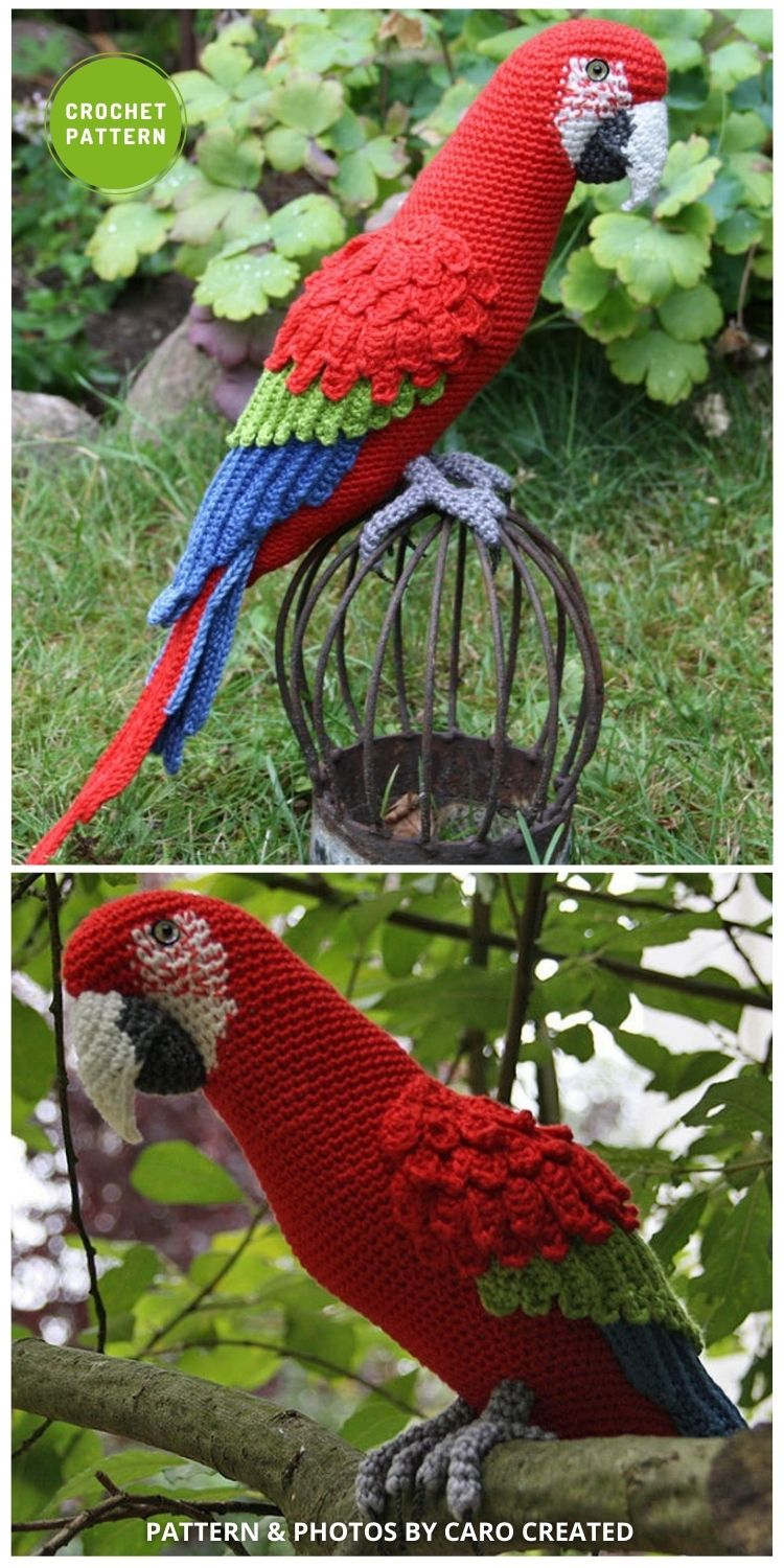 Amigurumi Red-and-Green MacawParrot - 6 Awesome Realistic Crochet Bird Patterns To Make Right Now