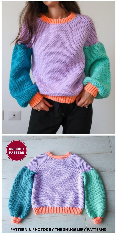 Balloon Sleeve Crochet Sweater Pattern - 12 Trendy Crochet Sweater Patterns For Women Ideas