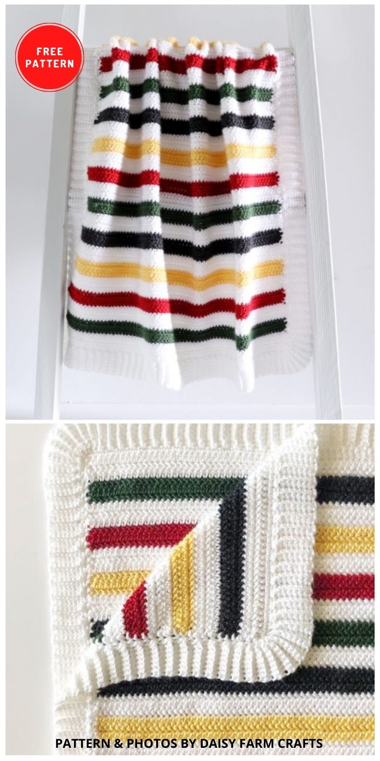 Camping Stripe Crochet Blanket - 9 Free Crochet Camping Blanket Patterns To Keep You Warm And Cozy