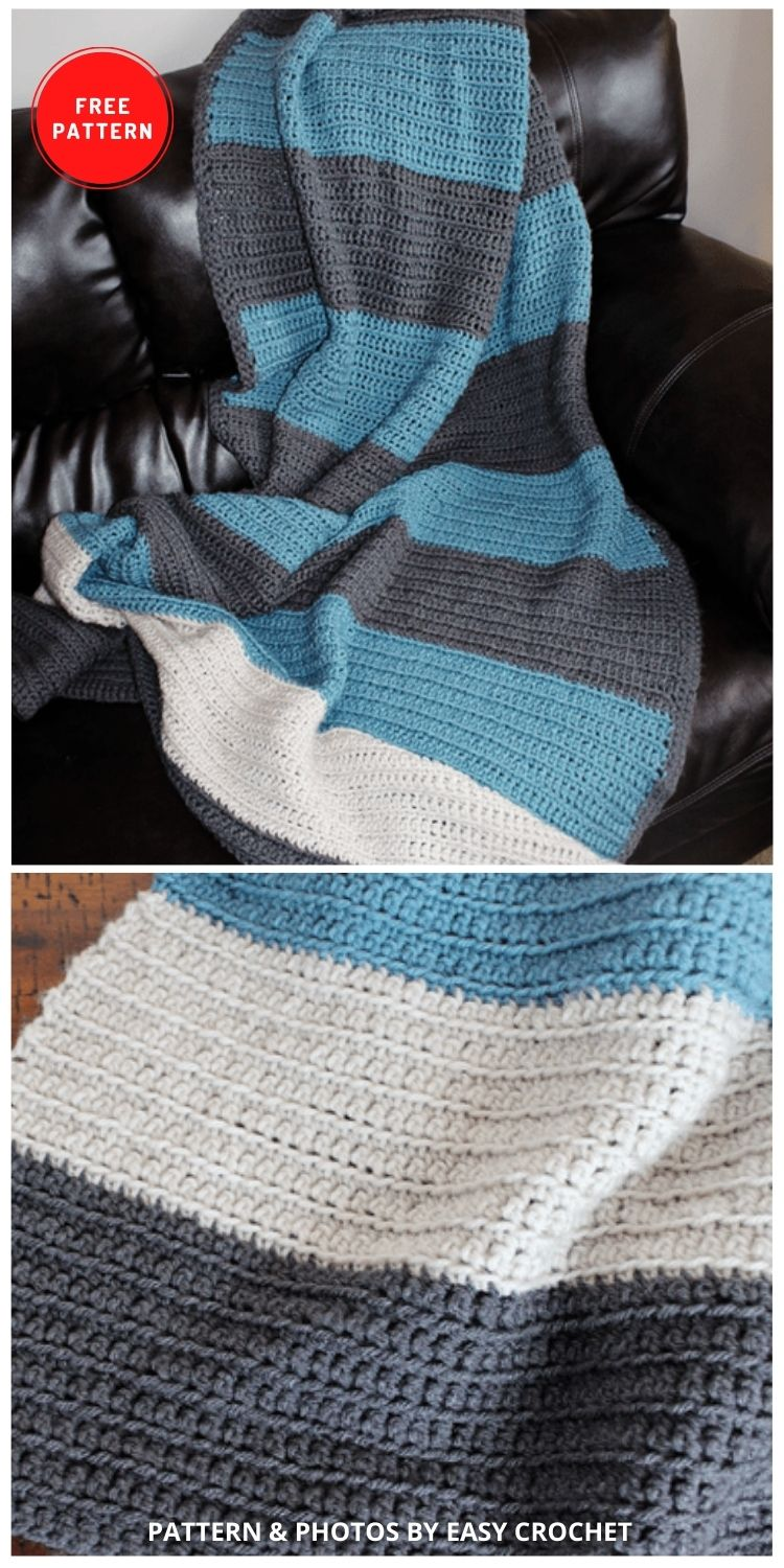 Color Blocked Stripes Blanket - 9 Free Crochet Camping Blanket Patterns To Keep You Warm And Cozy
