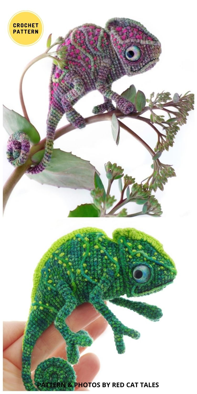 Crochet Chameleon - 9 Incredible Realistic Crochet Bug, Critter And Reptile Patterns