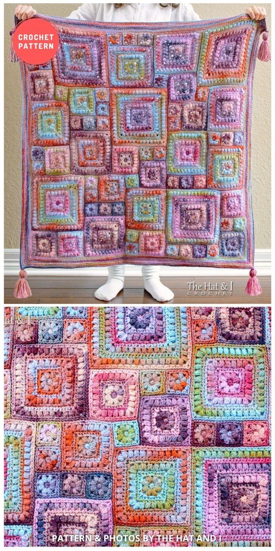 Crochet Square Scramble - 10 Best Crochet Picnic Blanket Patterns For Family Outing
