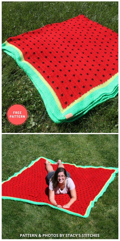 Crochet Watermelon Picnic Blanket - 10 Best Crochet Picnic Blanket Patterns For Family Outing