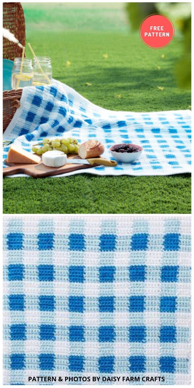Gingham Crochet Picnic Blanket - 10 Best Crochet Picnic Blanket Patterns For Family Outing