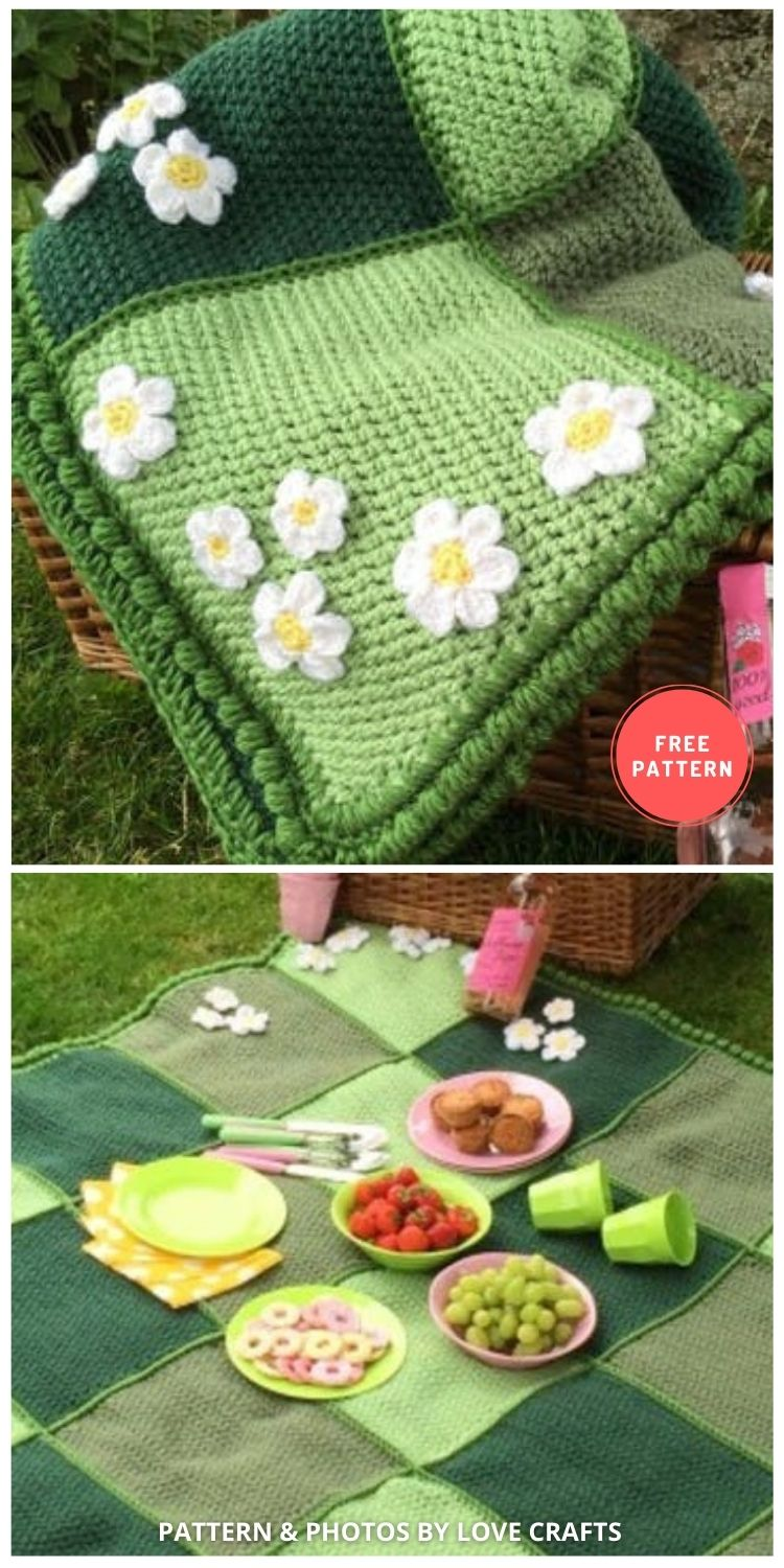 Meadow Picnic Blanket - 10 Best Crochet Picnic Blanket Patterns For Family Outing