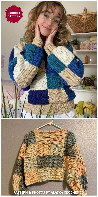 Patchwork Sweater Crochet - 12 Trendy Crochet Sweater Patterns For Women Ideas