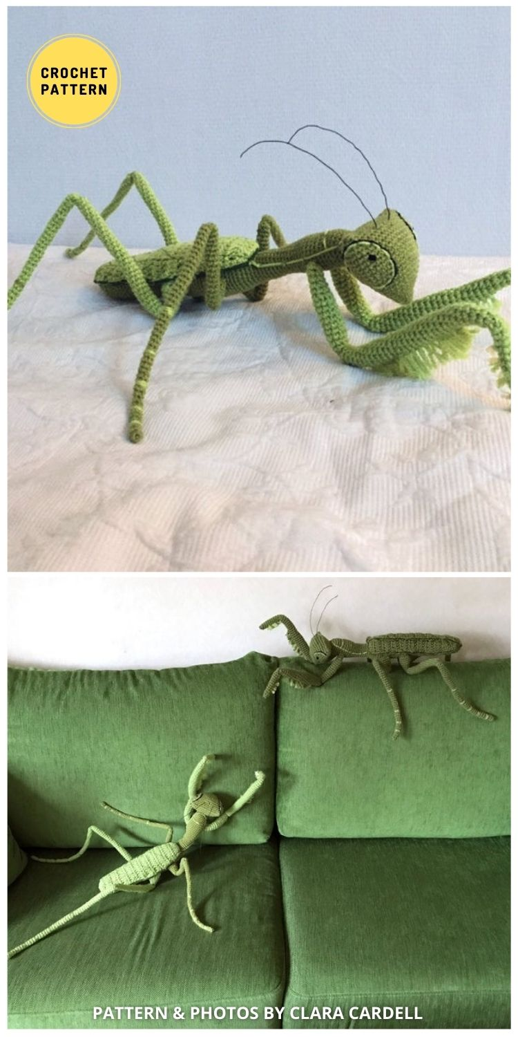Praying Mantis Crochet Pattern - 9 Incredible Realistic Crochet Bug, Critter And Reptile Patterns