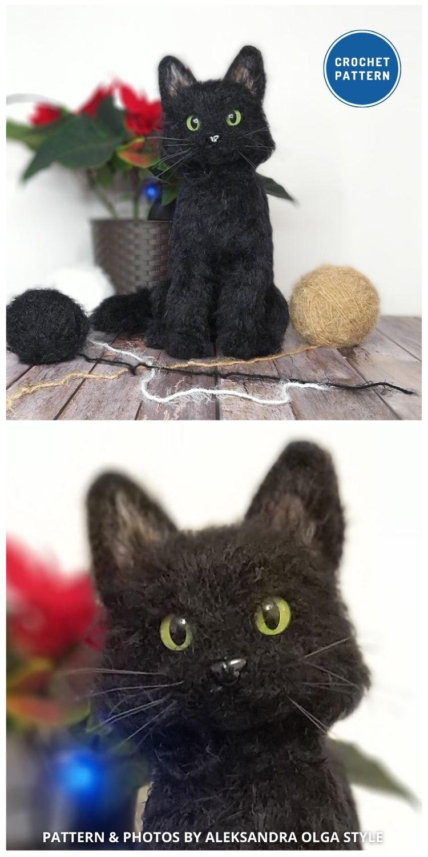 Realistic Black Cat - Top 6 Cuddly Realistic Cat Crochet Ideas