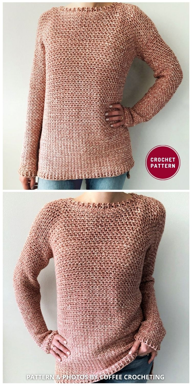 Rose Dust Sweater - 12 Trendy Crochet Sweater Patterns For Women Ideas