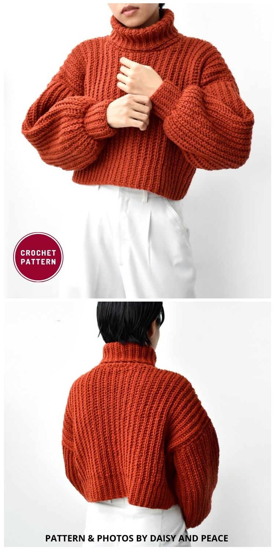 Turtleneck Sweater Crochet - 12 Trendy Crochet Sweater Patterns For Women Ideas
