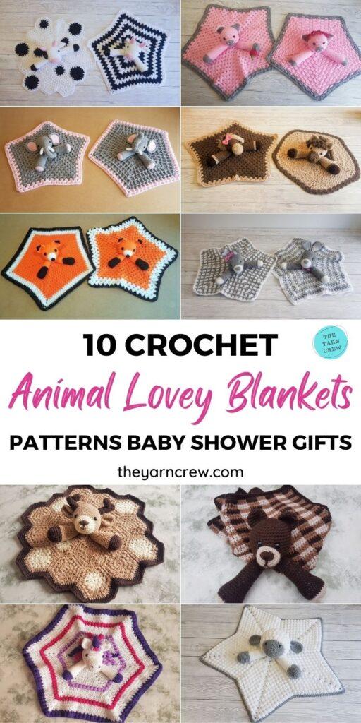 10 Crochet Animal Lovey Blanket Patterns Baby Shower Gifts PIN 1