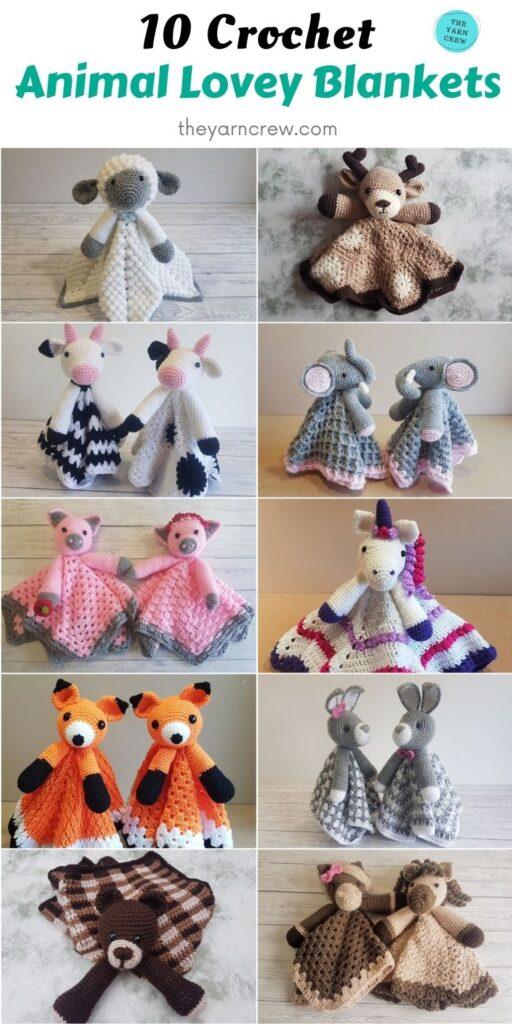 10 Crochet Animal Lovey Blankets PIN 2
