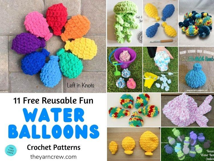 11 padrões de crochê gratuitos reutilizáveis e divertidos de balão de água PÔSTER FB