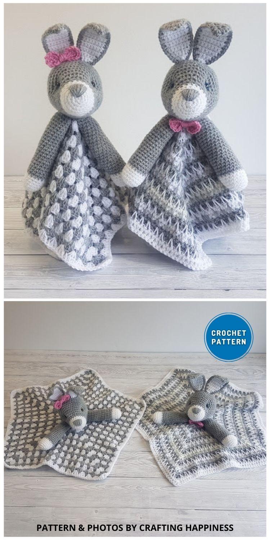 Bun Bun The Bunny Lovey - 10 Crochet Animal Lovey Blanket Patterns Baby Shower Gifts