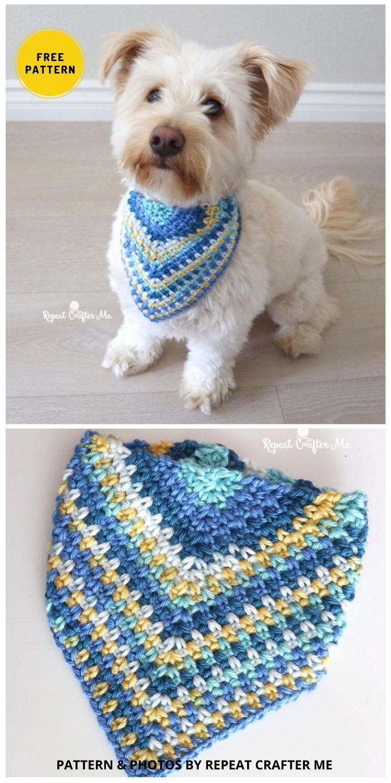 Crochet Dog Bandana - 8 Free Unique Crochet Dog Bandana Patterns