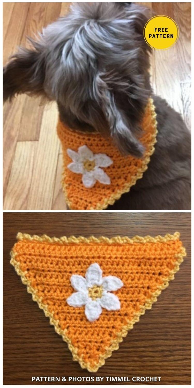 Crochet Flower Bandana - 8 Free Unique Crochet Dog Bandana Patterns