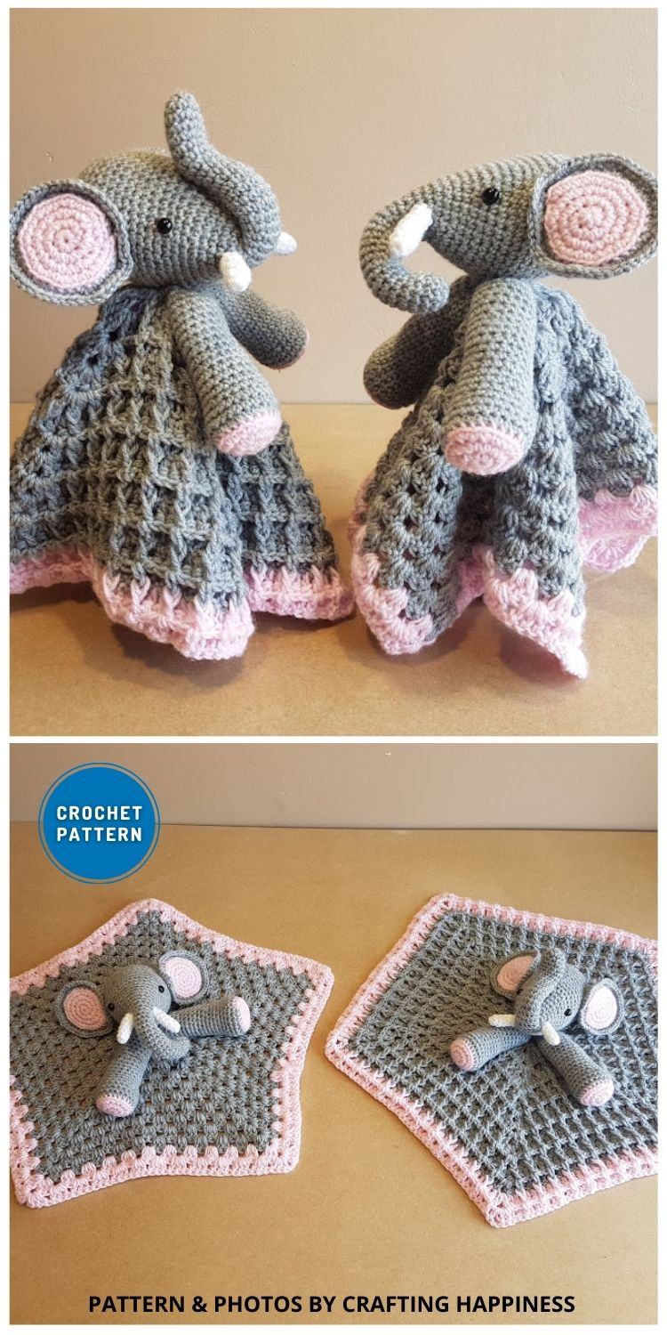 Ella The Elephant Baby Lovey (Two Styles) - 10 Crochet Animal Lovey Blanket Patterns Baby Shower Gifts