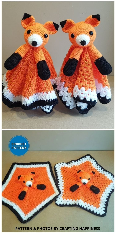 Foxy Fox Baby Lovey - 10 Crochet Animal Lovey Blanket Patterns Baby Shower Gifts