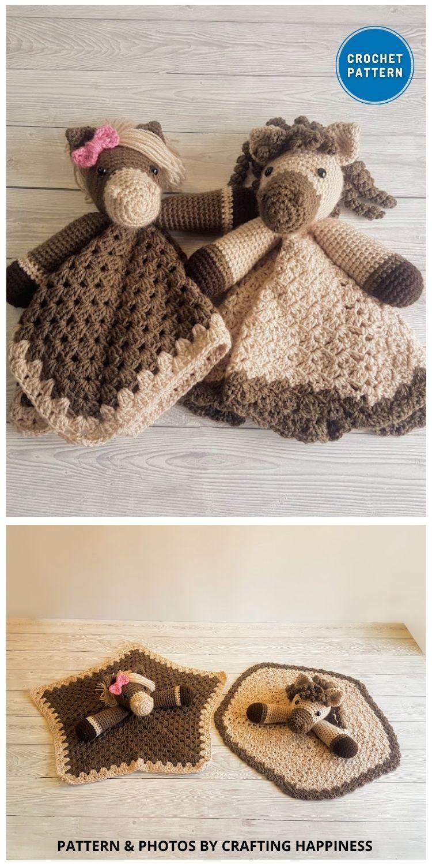 Harry & Harriet Horse Loveys - 10 Crochet Animal Lovey Blanket Patterns Baby Shower Gifts