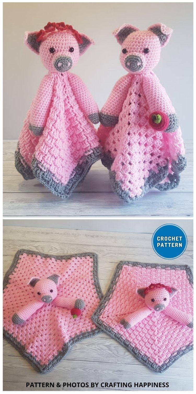 Pip & Petunia Pig Loveys - 10 Crochet Animal Lovey Blanket Patterns Baby Shower Gifts