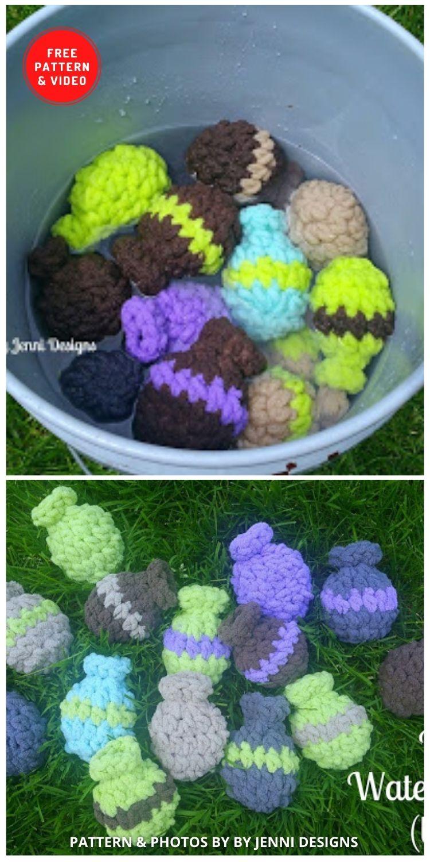 Bombas de água reutilizáveis - 11 padrões de crochê de balões de água divertidos e reutilizáveis gratuitos