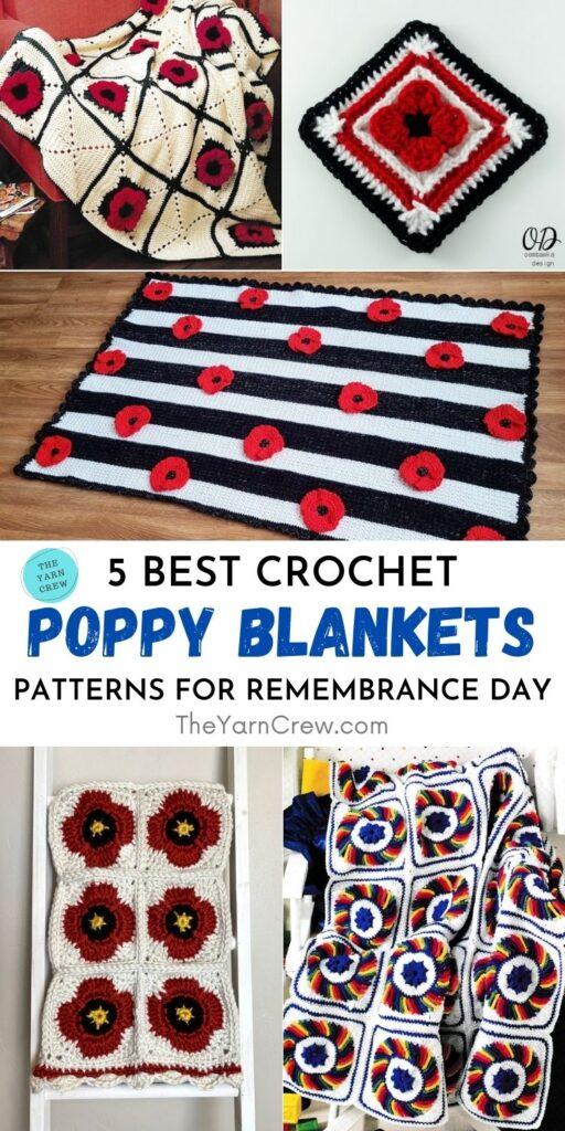 5 melhores padrões de manta de papoula de crochê para o dia da lembrança PIN 1