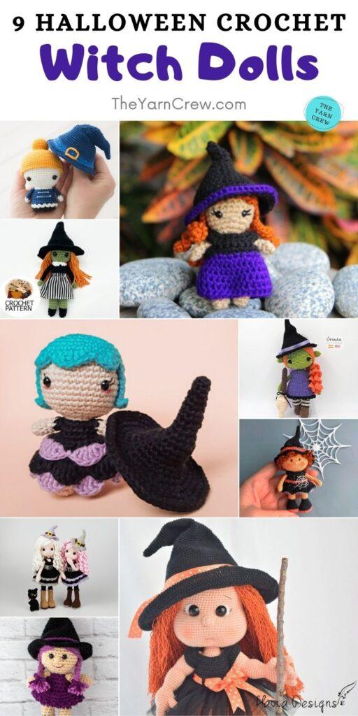 9 Halloween Crochet Witch Dolls PIN 2