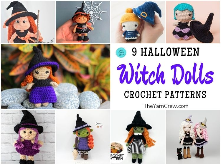 9 Halloween Witch Doll Crochet Patterns FB POSTER