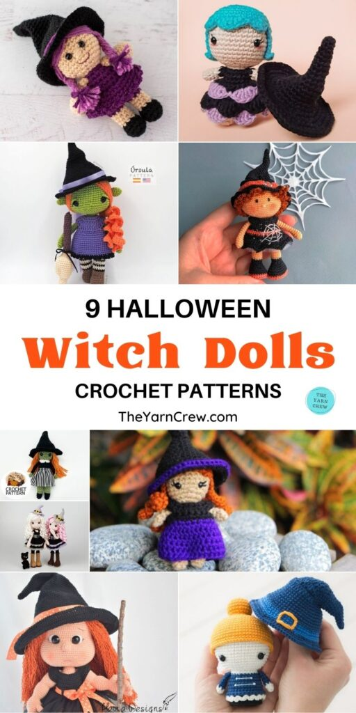 9 Halloween Witch Doll Crochet Patterns PIN 1