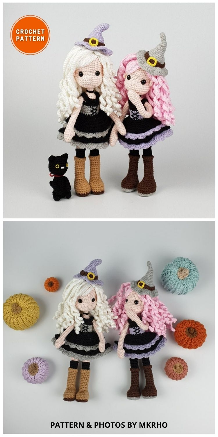 Amigurumi Witch and Cat - 9 Halloween Witch Doll Crochet Patterns
