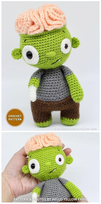 Brian Brain Amigurumi Zombie - 7 Spooky Crochet Zombie Patterns For Halloween